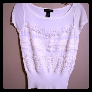 WHBM capped sleeve crochet front sweater